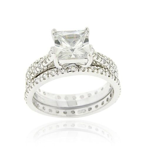 Sterling Silver Square CZ Engagement & Bridal Wedding Ring