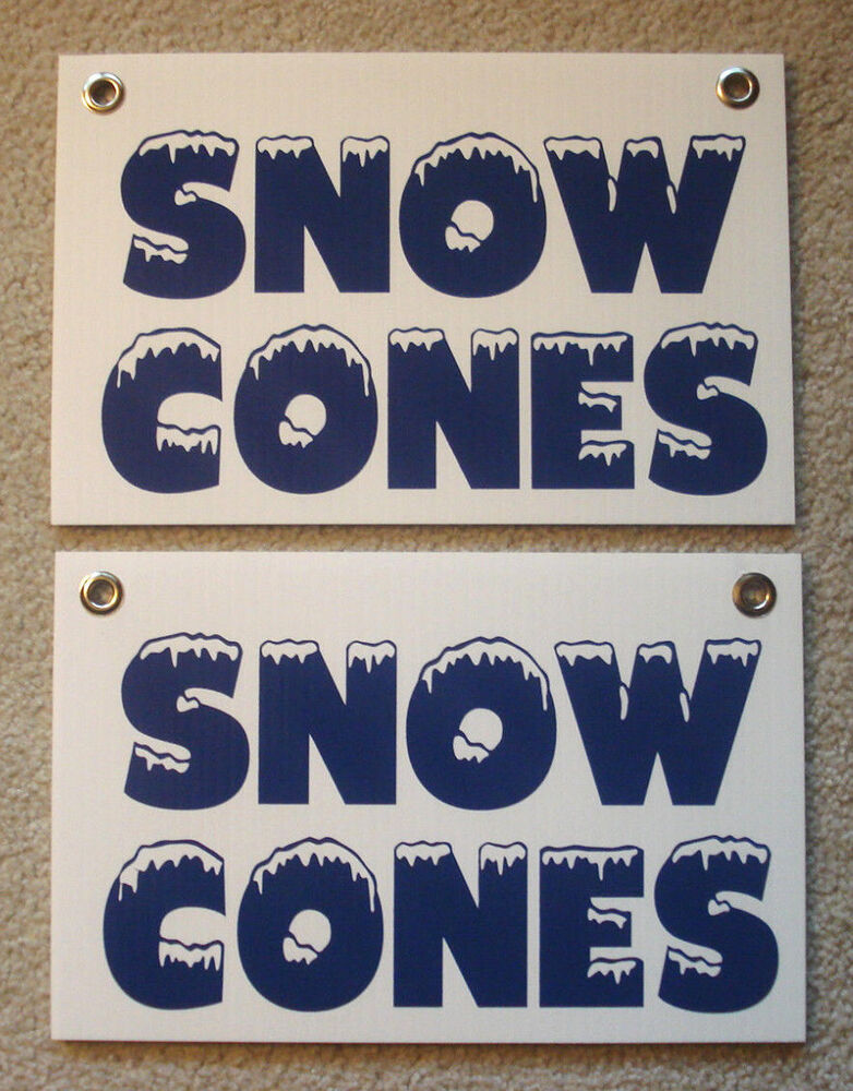 "2 Snow Cones Coroplast Signs New! 8"" X 12"" Concession. Black Number Stickers. Photography Banners. Logo Design Templates. Specific Signs. Snowy Mountain Murals. Marble Signs. Aluminum Boat Decals. Little Boy Stickers"