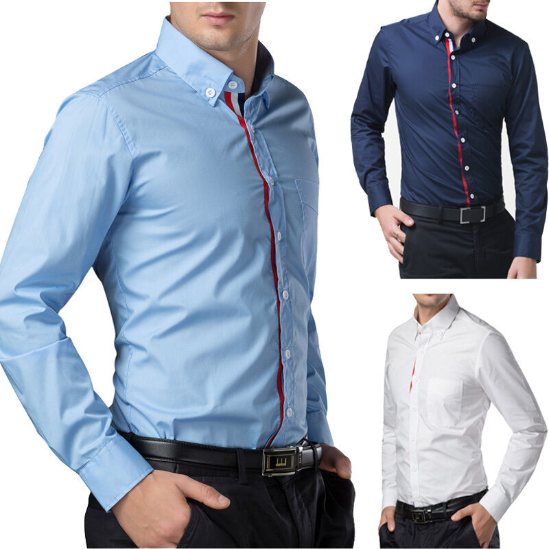 all stock cheap long sleeve men 39 s casual formal slim fit