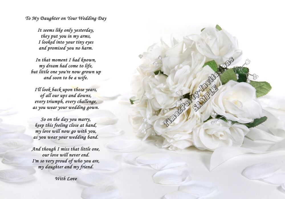 A4 Poem From Mum To Daughter On Her Wedding Day Gift
