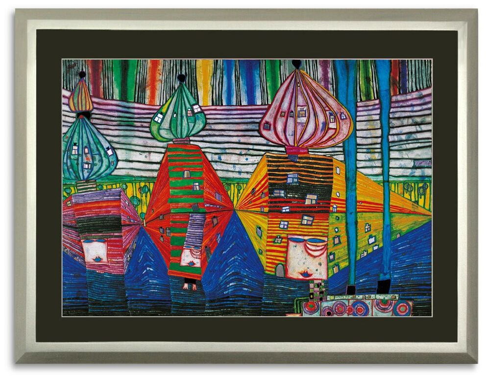 bild kunstdruck hundertwasser resurrection of architecture mit rahmen 38 sale ebay. Black Bedroom Furniture Sets. Home Design Ideas
