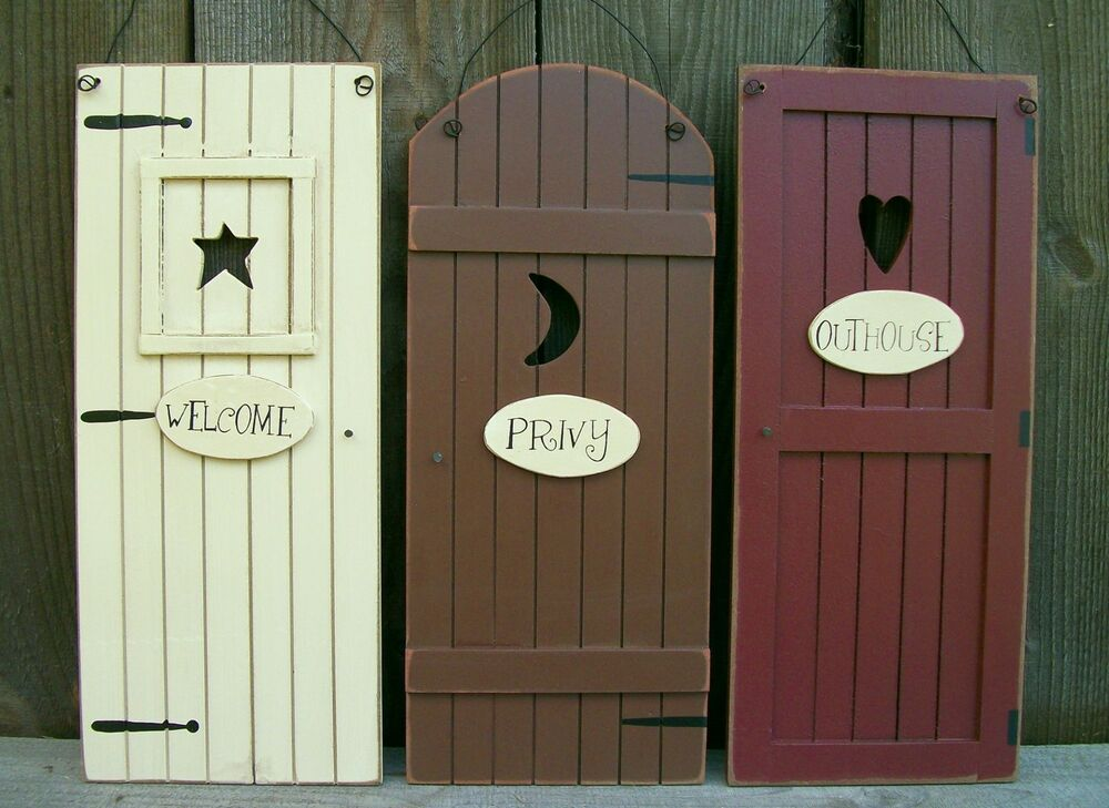 Set 3 primitive country outhouse door signs welcome for Bathroom door decor