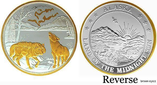 Alaska Mint No Light Wolf Gold Amp Silver Medallion Proof Ebay