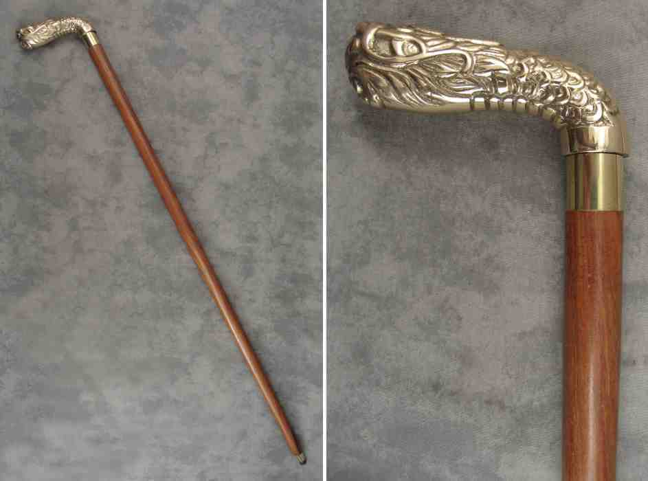 walking stick cane brass oriental serpent handle brown. Black Bedroom Furniture Sets. Home Design Ideas