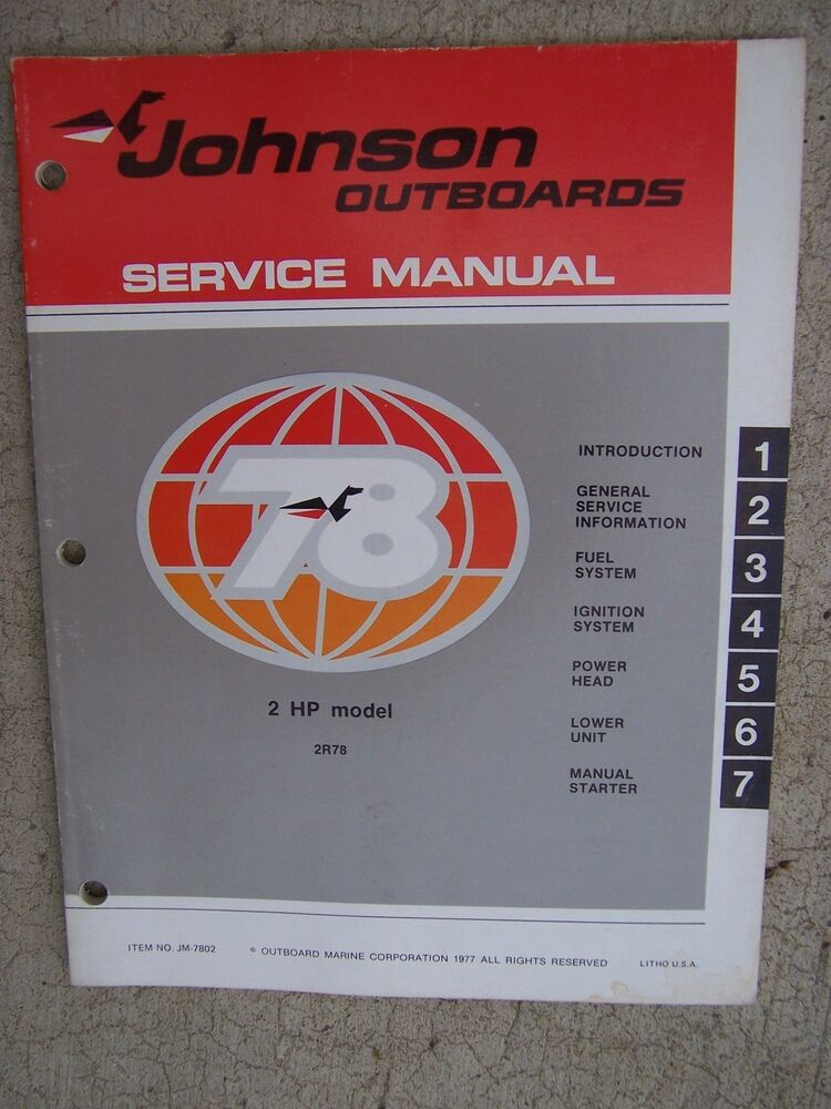 1978 Johnson Outboard Motor 2 Hp Service Manual 2r78 More