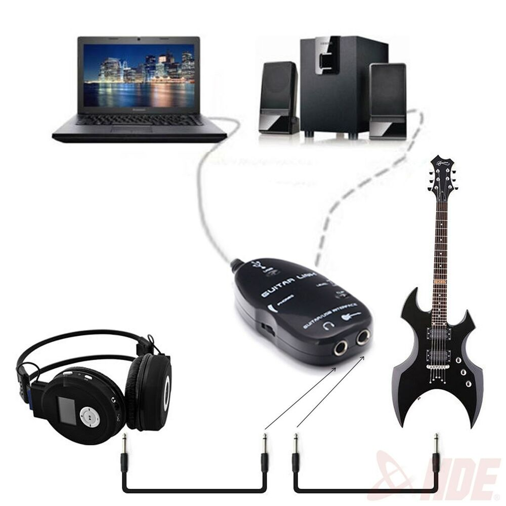 guitar 1 4 audio to usb interface link cable recording w headphone jack for pc ebay. Black Bedroom Furniture Sets. Home Design Ideas
