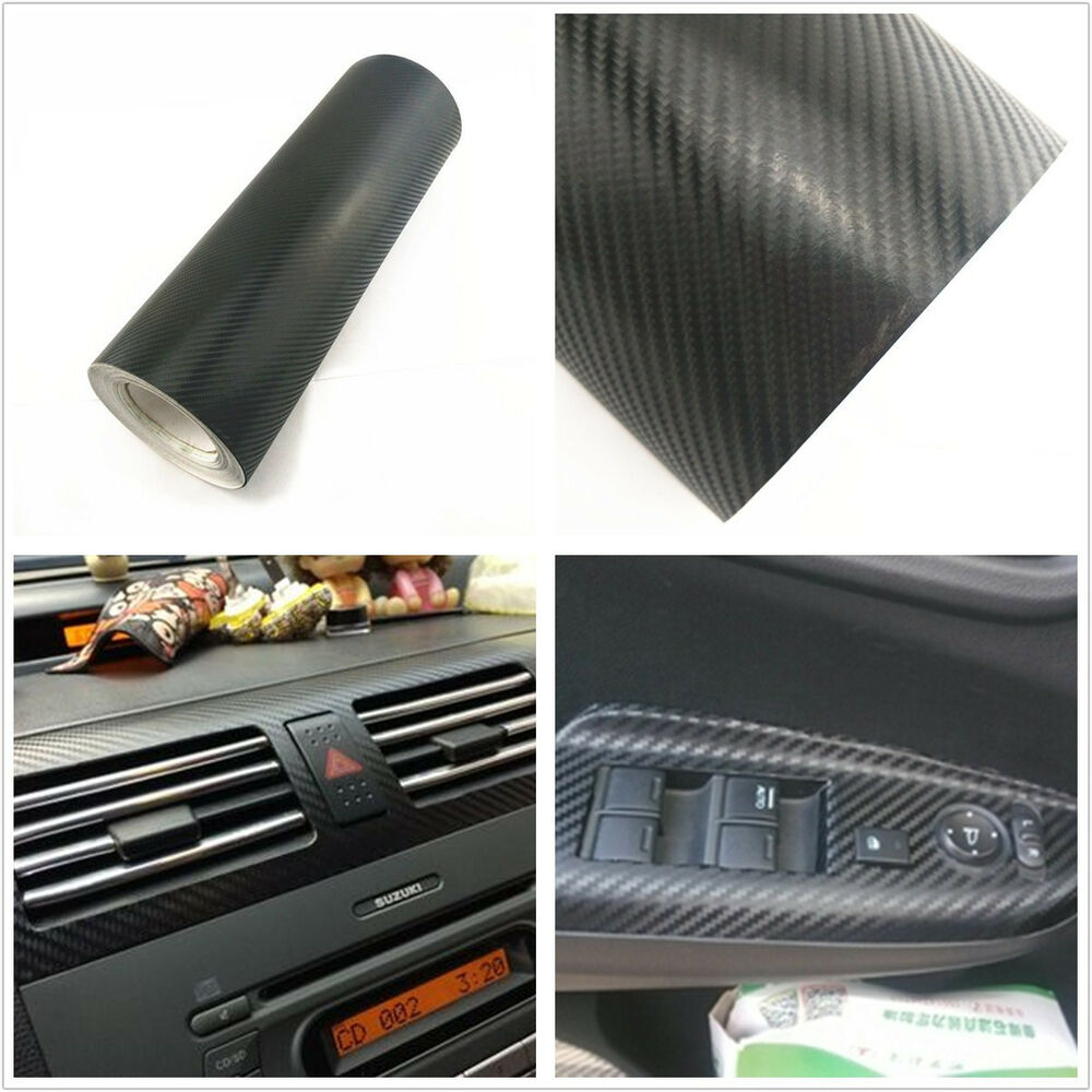 black 3d carbon fiber car interior panels door handle vinyl decal for honda cr v ebay. Black Bedroom Furniture Sets. Home Design Ideas