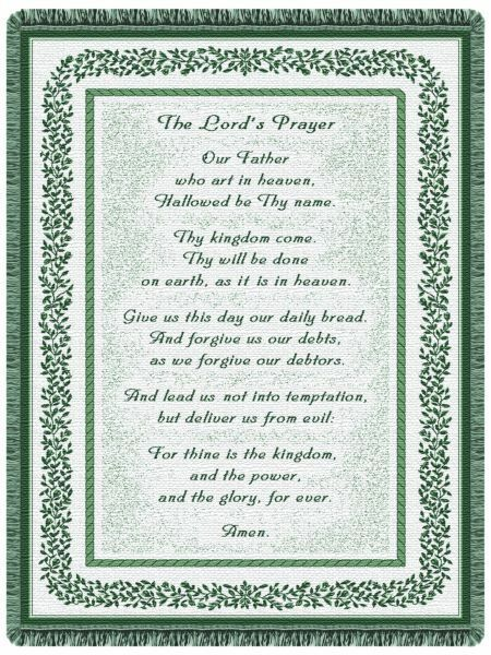 68x48 The Lords Prayer Religious Green Tapestry Throw