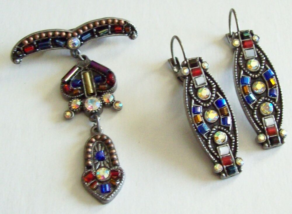 Pretty Vintage Egyptian Style Dangle Pin Earrings Ebay