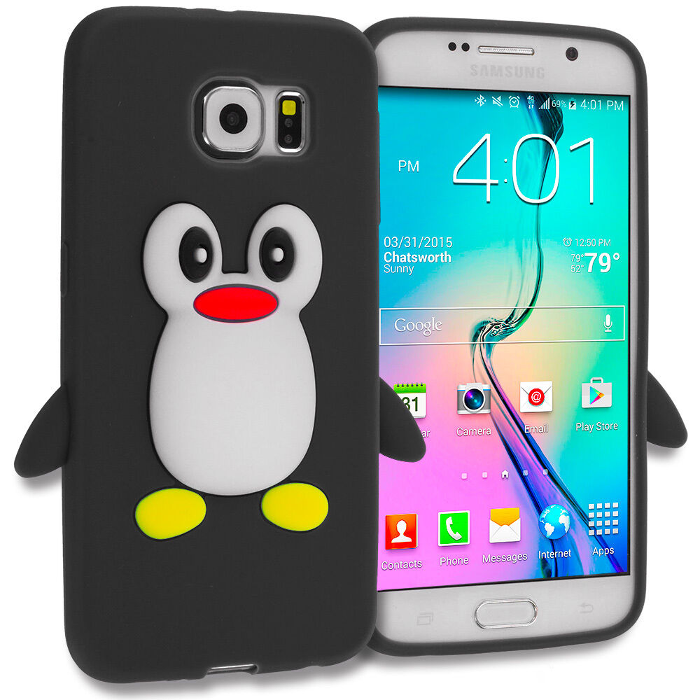 iPhone phone cases for iphone 4 ebay : ... Galaxy S6 Silicone Penguin Cute Soft 3D Design Case Cover Black : eBay