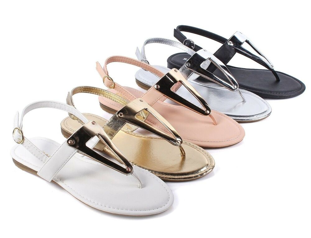 Bamboo 5 Color Casual Side Buckle T Strap Womens Gladiator