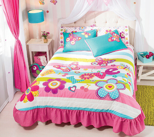 pink butterfly bedroom new white pink aqua flowers butterflies 12858