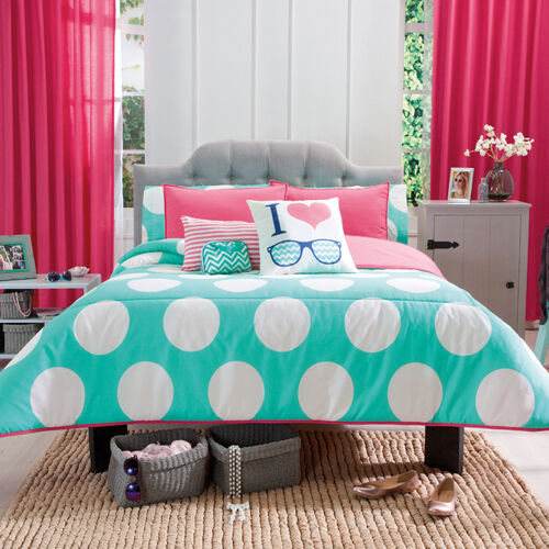 New girls aqua white polka dots peach comforter bedding set ebay - Bedspreads for teenagers ...