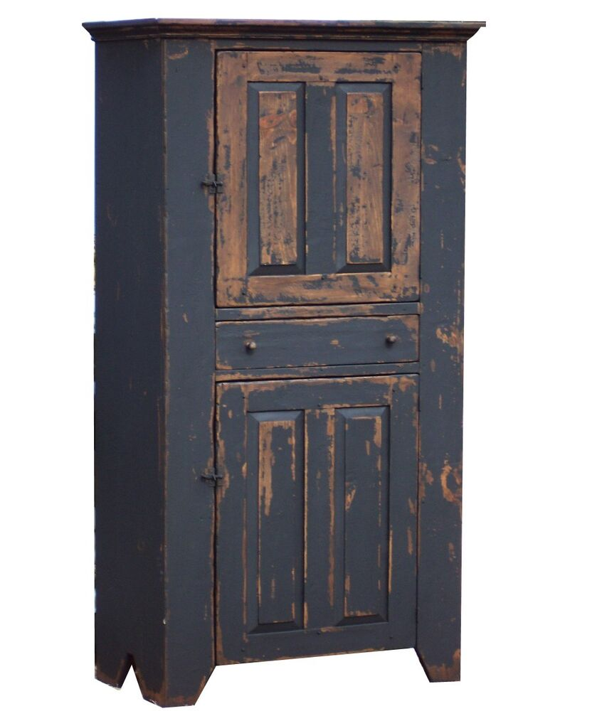 PAINTED COUNTRY CUPBOARD EARLY AMERICAN PRIMITIVE FARMHOUSE FURNITURE CABINET