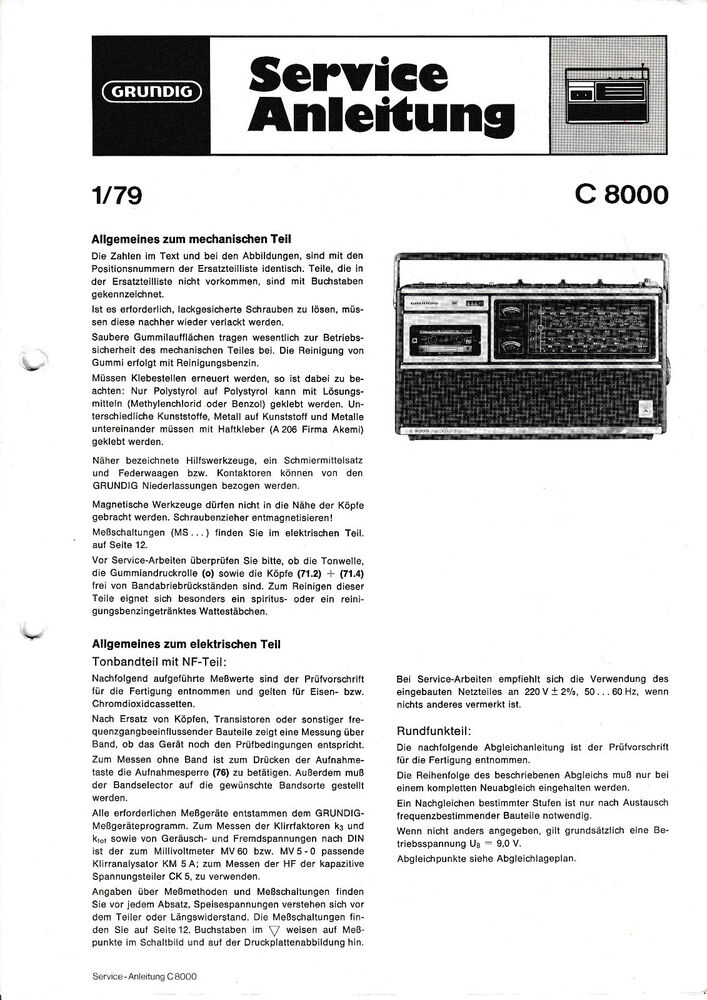 Tv, Video & Audio Fein Service Manual-anleitung Für Grundig V 1