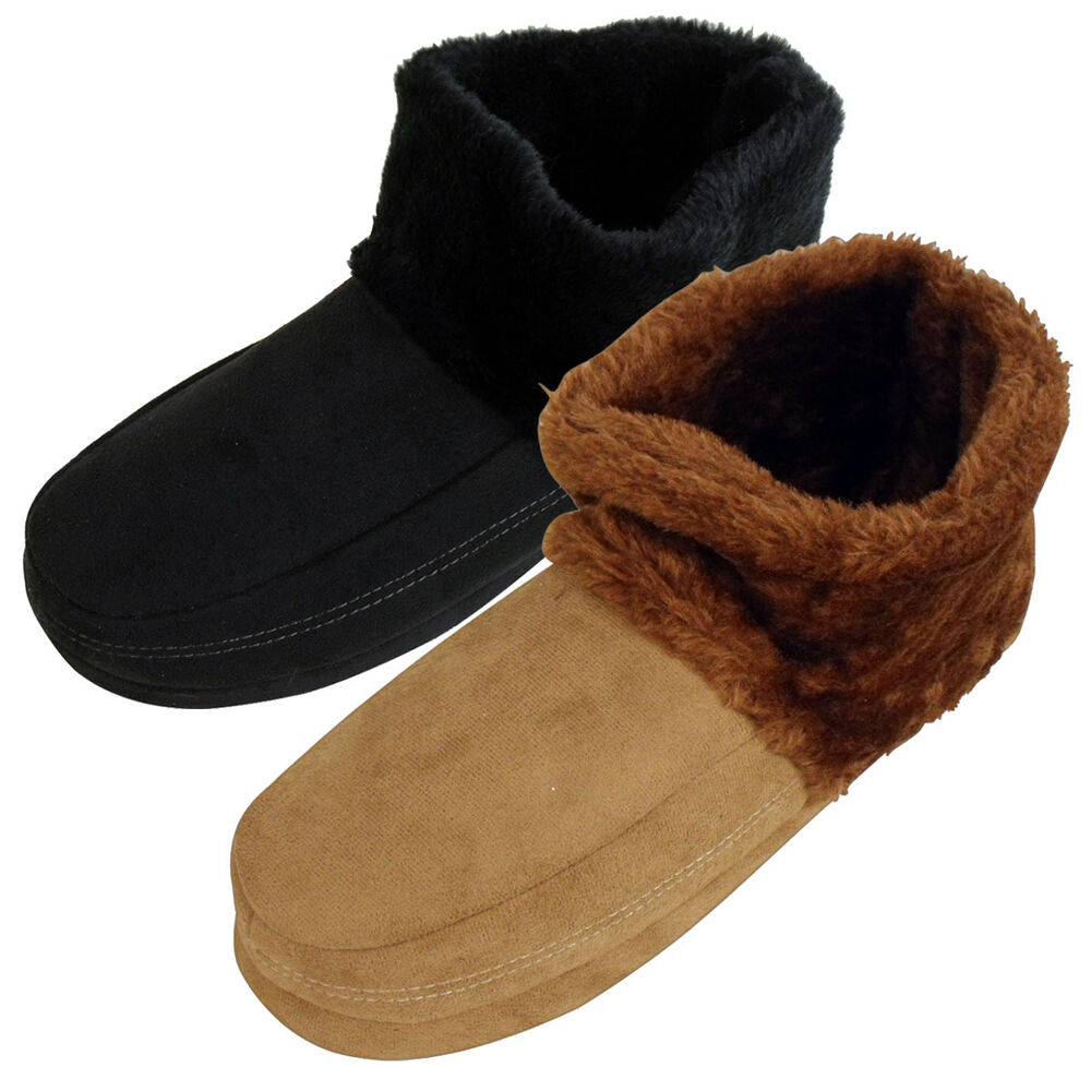 Mens Dunlop Ankle Boot Furry Slipper Bootee Faux Suede ...