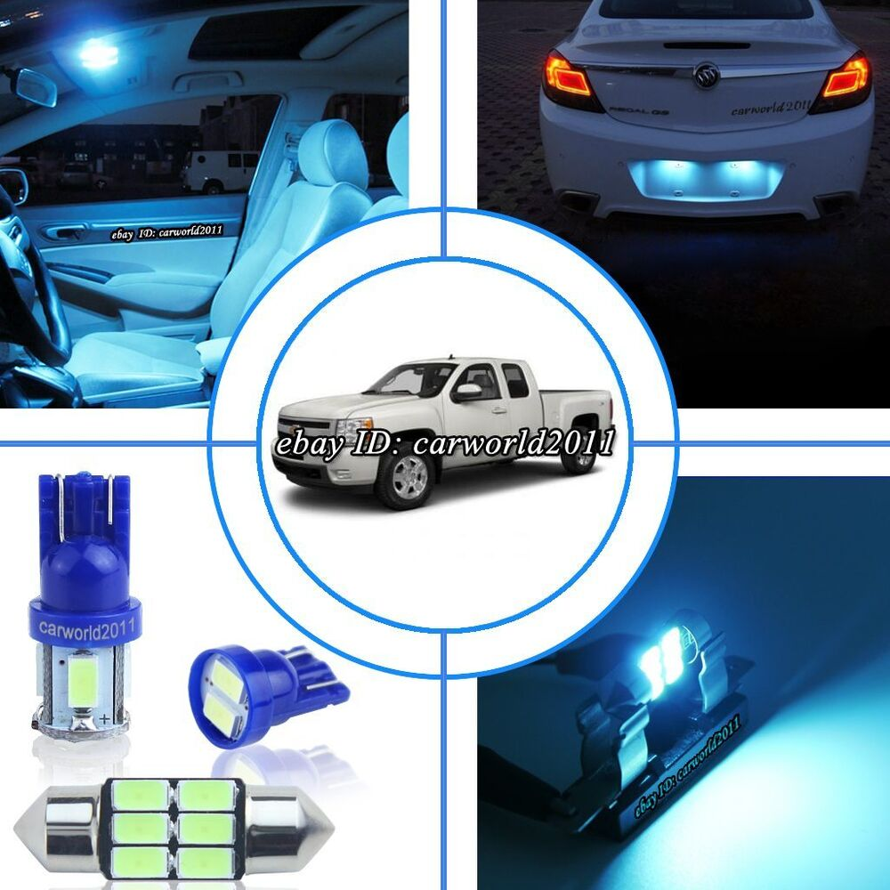 10x aqua ice blue led interior dome light package kit for chevy silverado 07 13 ebay