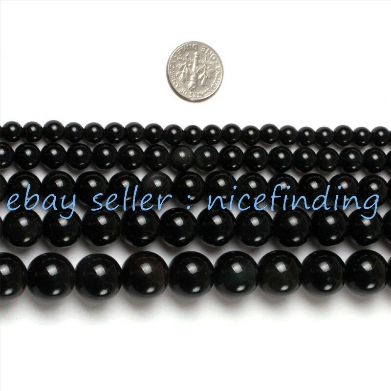 Black obsidian natural stone round beads for jewelry for Birthstone beads for jewelry making