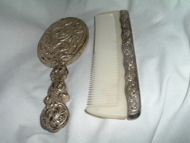 Antique Art Nouveau Silver Plated Vanity Hand Mirror And Comb Set Ebay