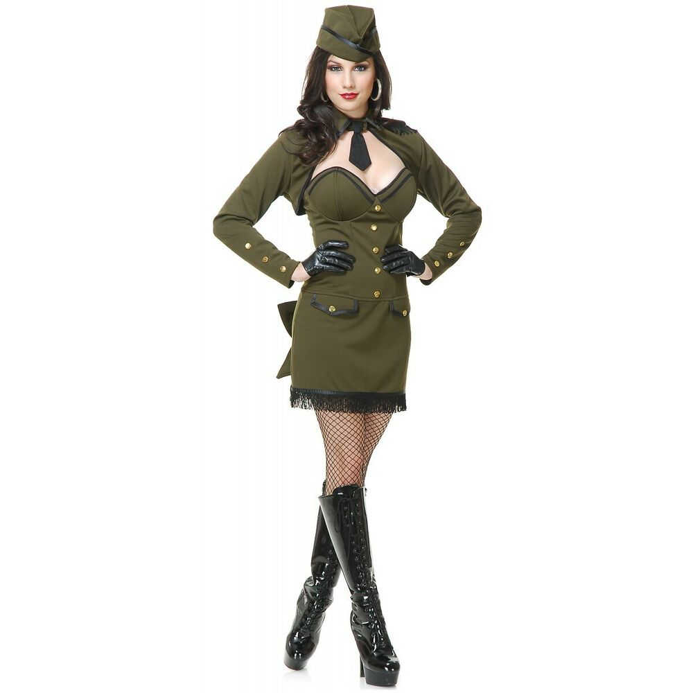 Army Girl Costume Adult Sexy 40S 50S Pin Up Halloween -5593