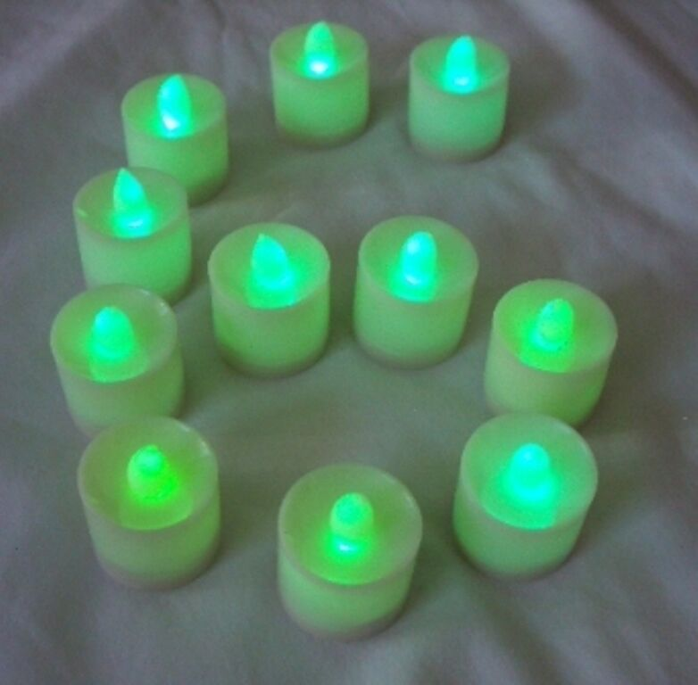 6 Pcs Green Flameless Flickering LED Candle Tea Light Party Decoration Supply