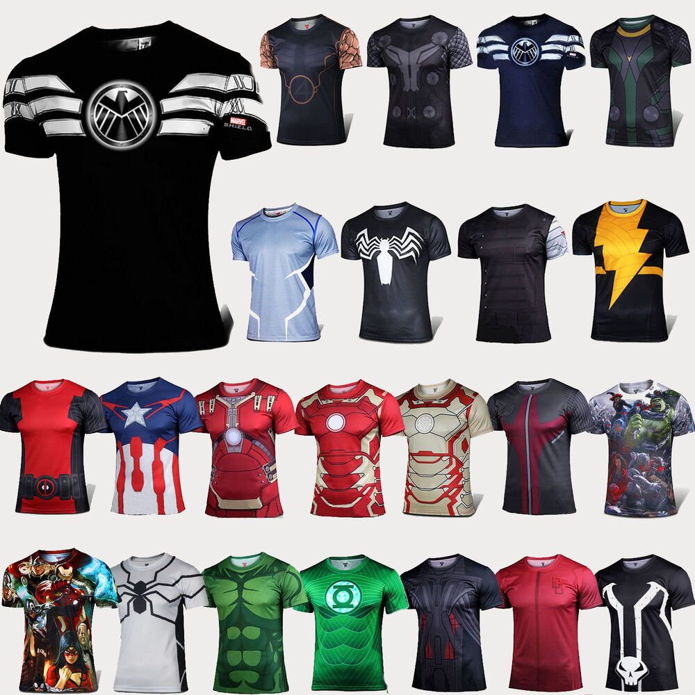 2016 mens compression t shirt super hero base layer sport. Black Bedroom Furniture Sets. Home Design Ideas