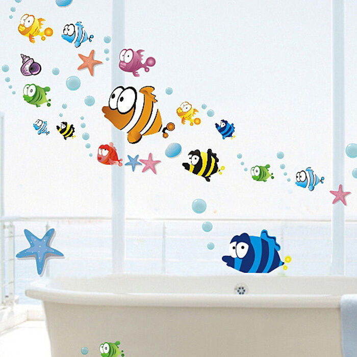 ocean sea fish diy vinyl art removable wall stickers mural room decal decor ebay. Black Bedroom Furniture Sets. Home Design Ideas