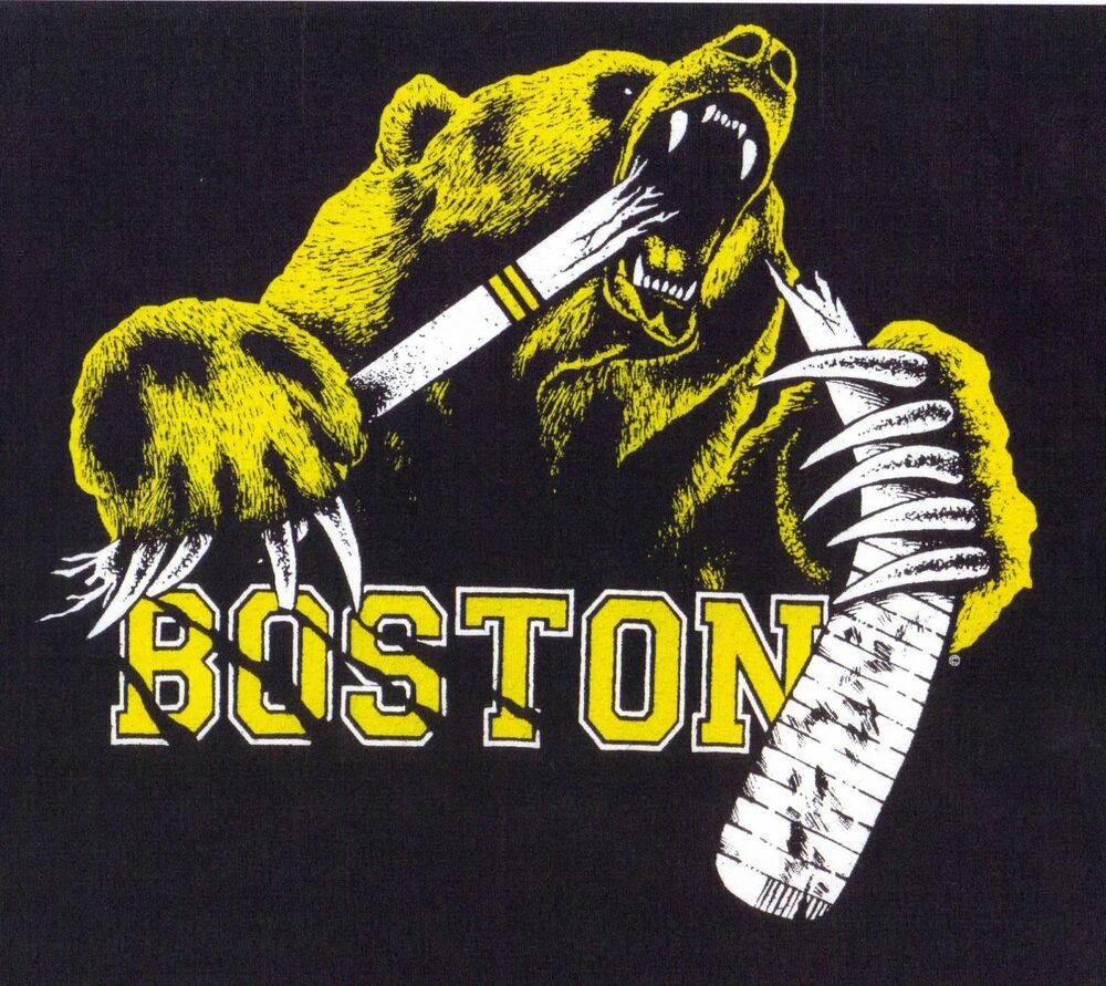 boston hockey t shirt bear grizzly bruin biting stick