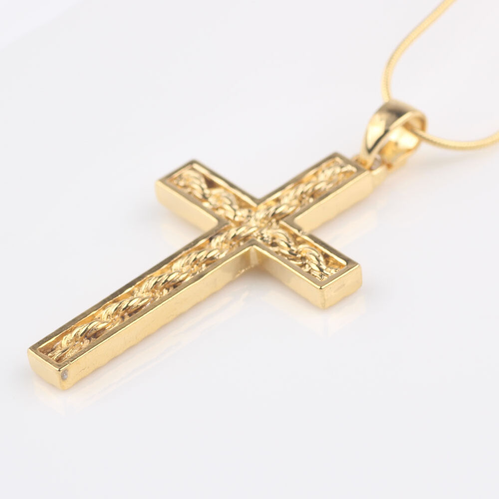 vogue 24k yellow gold filled womens mens cross pendant. Black Bedroom Furniture Sets. Home Design Ideas