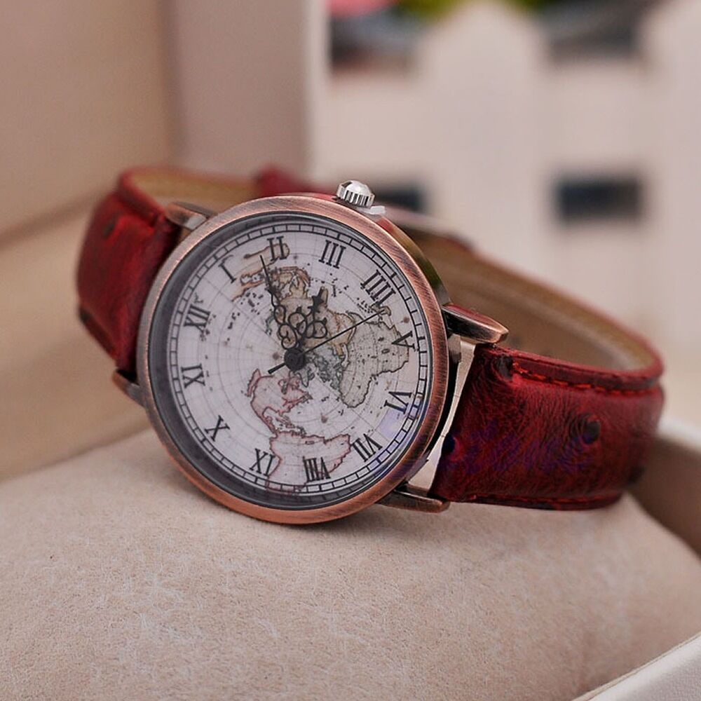 world map globe fashion faux leather alloy men women