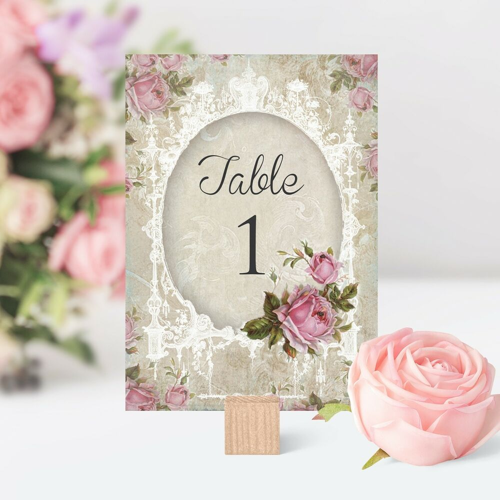 vintage style wedding table number name card shabby chic pink flower rose ebay. Black Bedroom Furniture Sets. Home Design Ideas