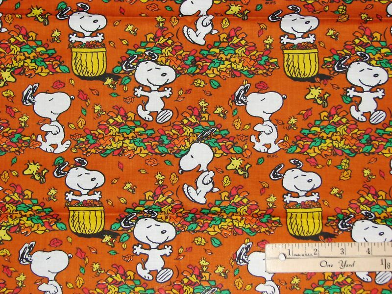 Snoopy Woodstock Peanuts Autumn Fall Frolic Cotton Fabric ...