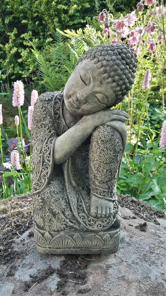 Granite Lawn Ornaments : Stone garden sleeping lotus buddha buddah statue ornament