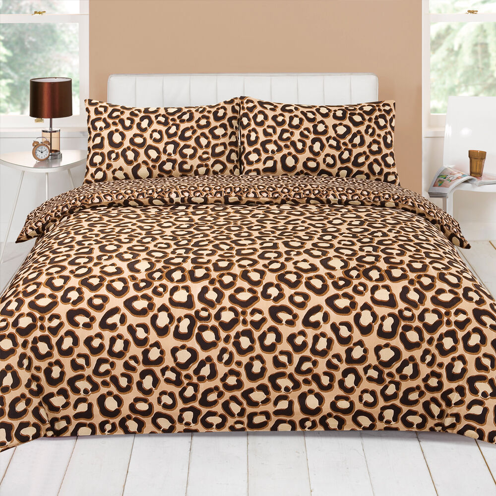 Leopard Chocolate Brown Beige Animal Print Duvet Quilt