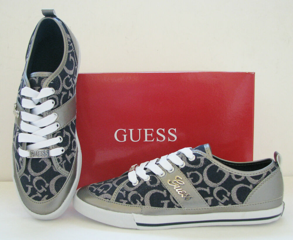 new guess briar blue logo pewter leatherette silver sport