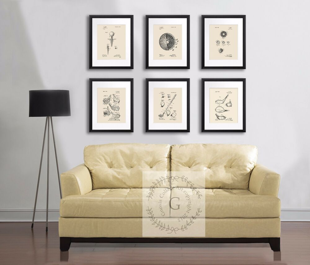 Vintage golf ball golf club patent art prints set of 6 for 8x10 office design ideas