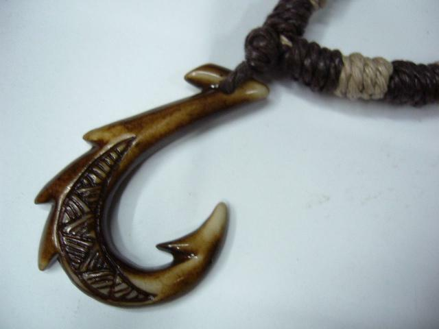 Buffalo bone brown fish hook shape pendant adjustable for Fish hook necklace