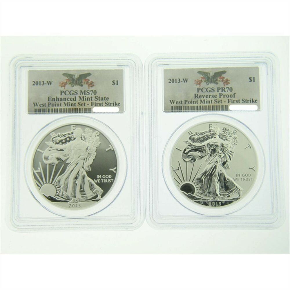 2013 American Silver Eagle West Point Set Pcgs 70 First