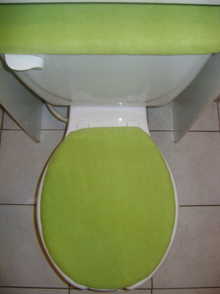 Lime Green FLEECE Fabric Elongated Toilet Seat Cover Set EBay