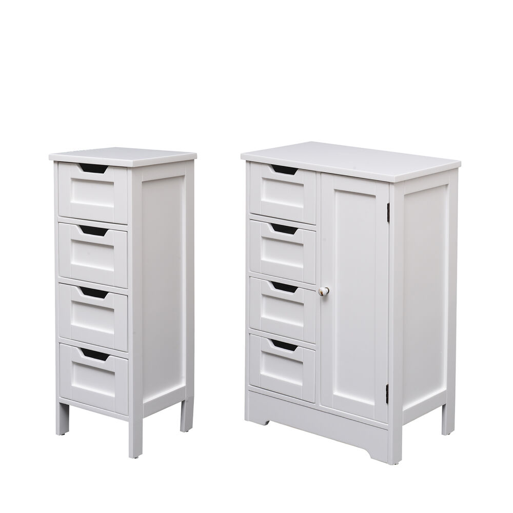Wooden cabinet organizer unit 4 drawers cupboard storage bathroom bedroom white ebay for Bathroom cabinet with drawers