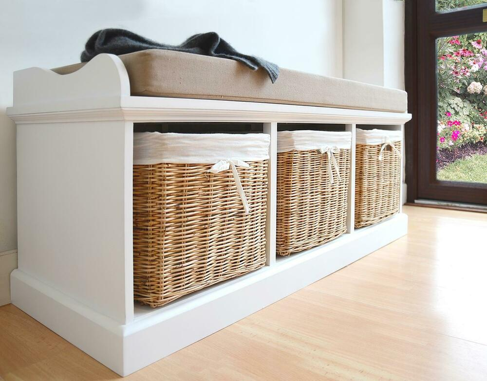 Tetbury White Bench With Cushion And Storage Baskets