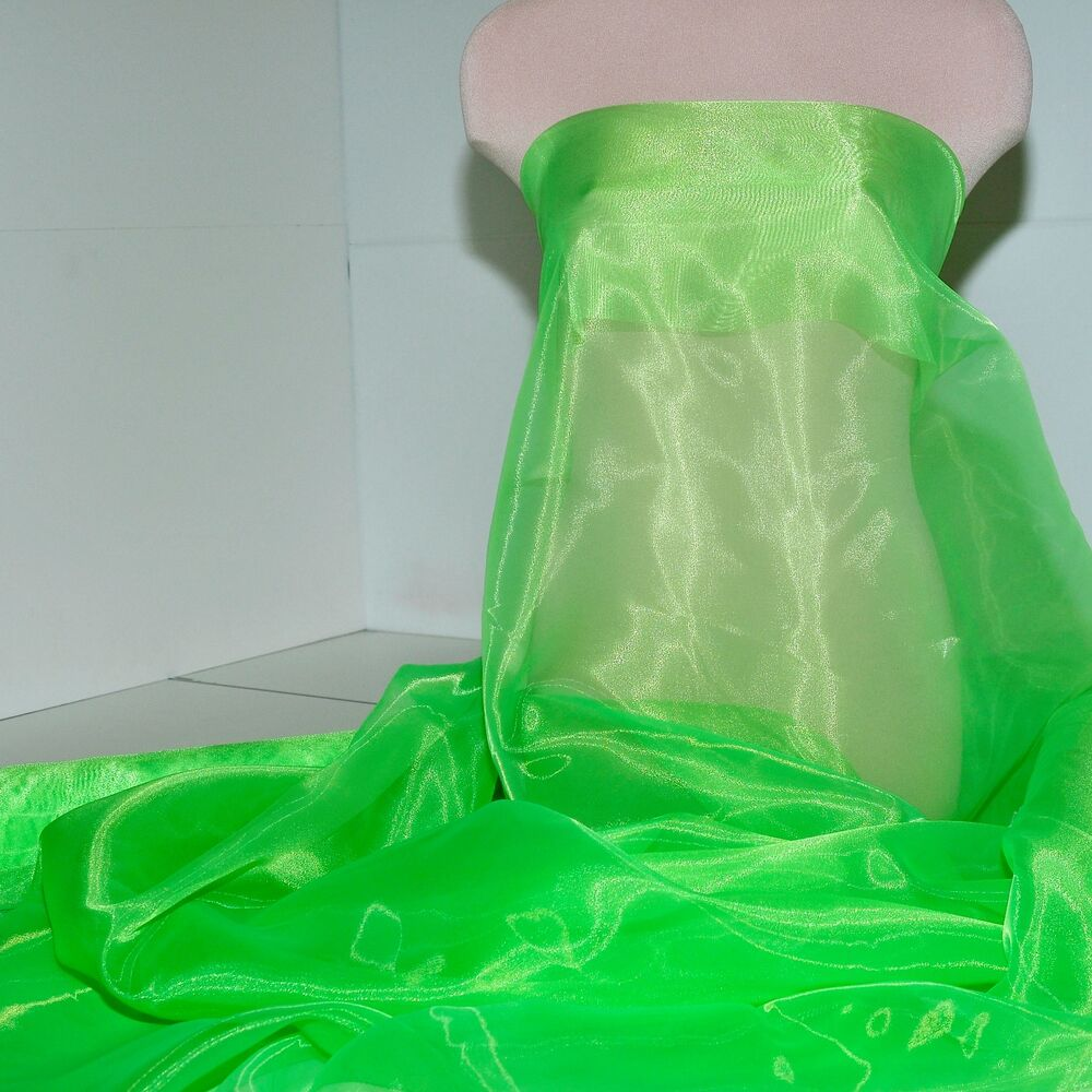 """Iridescent Lime Green Raindrop Beaded Curtain: IRIDESCENT ORGANZA POLY FABRIC LIME GREEN 58"""" PAGEANT"""