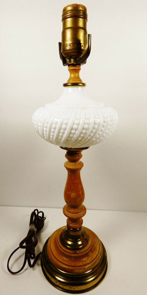 VTG Milk Glass Hobnail Wood Brass Electric Table Lamp