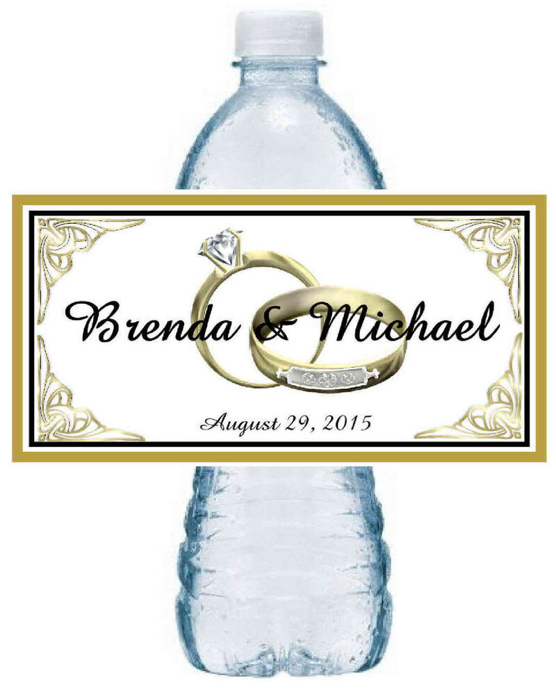 100 PERSONALIZED GOLD RINGS WEDDING WATER BOTTLE LABELS