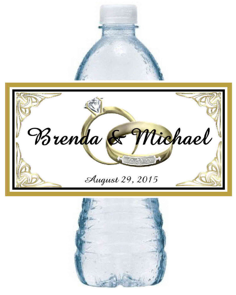 100 personalized gold rings wedding water bottle labels for Custom waterproof labels for water bottles