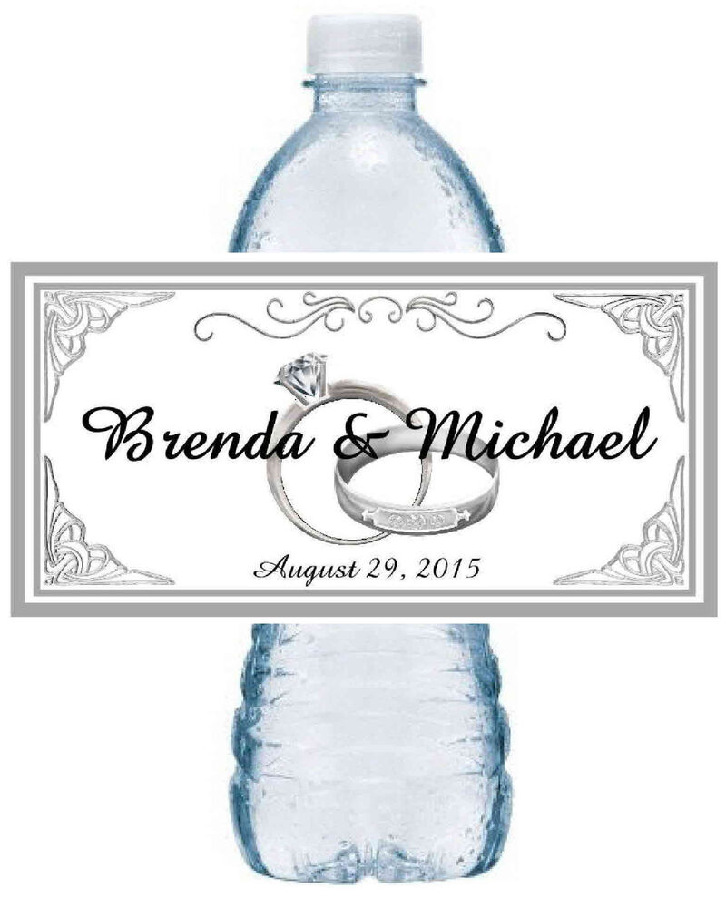 100 PERSONALIZED SILVER RINGS WEDDING WATER BOTTLE LABELS
