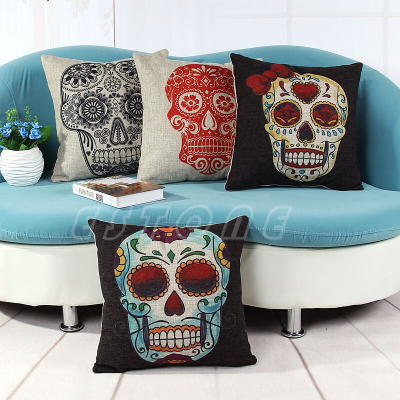Vintage Skull Throw Linen Cotton Pillow Case Bed Sofa Home ...