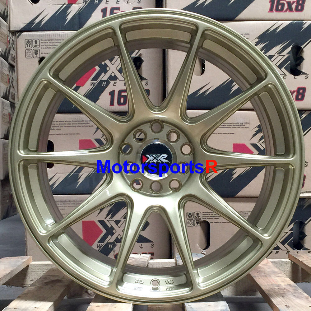 XXR 527 18 X 8.75 ET +20 Gold Rims Wheels 5x114.3 Concave