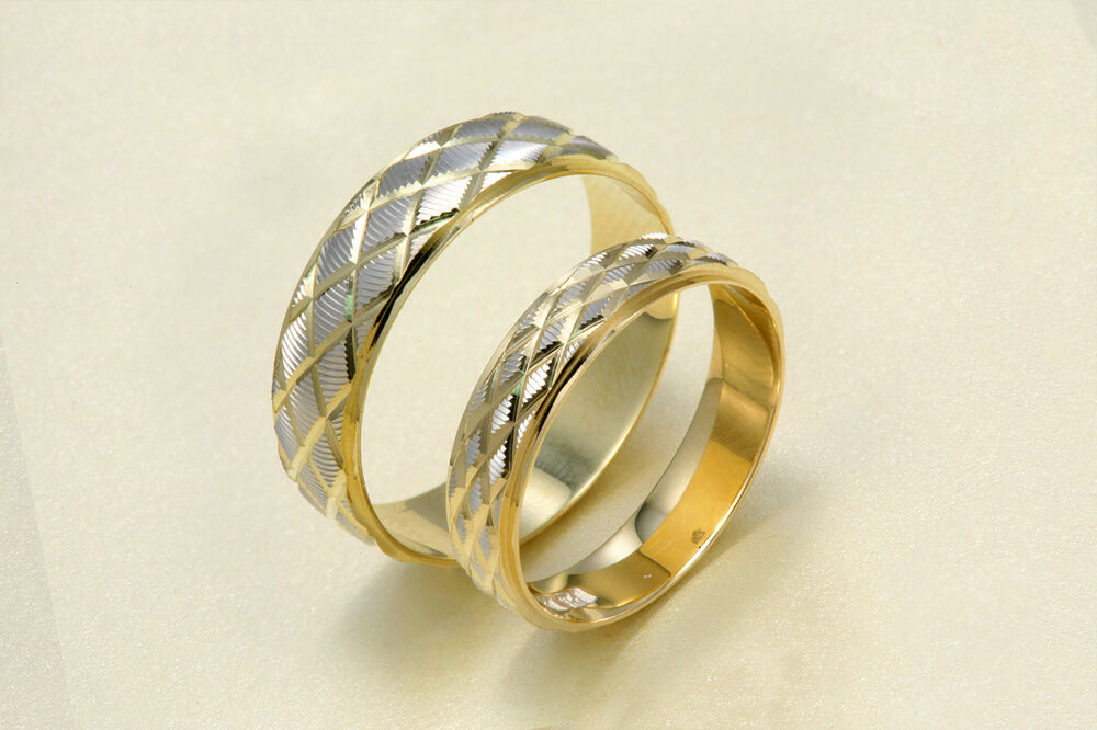 14k Two Tone Gold Men Womens His Hers Diamond Shape