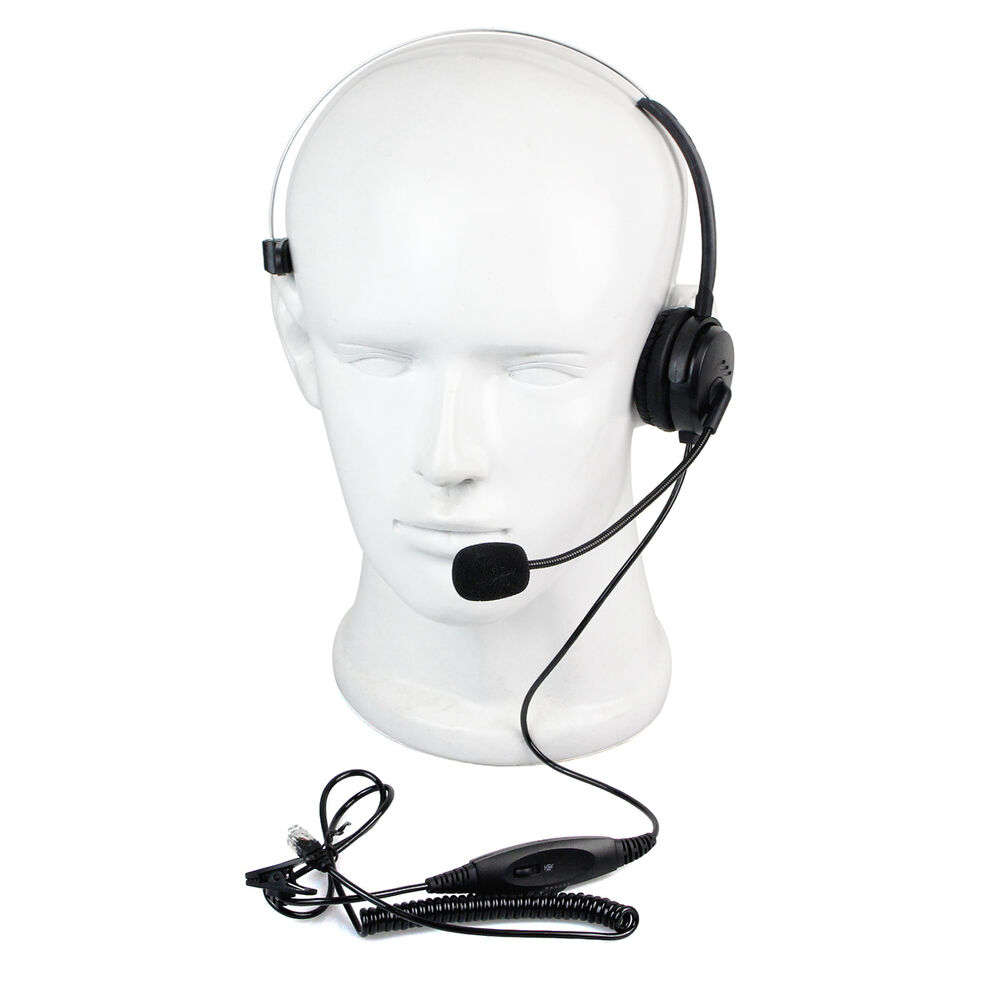Call center monaural office phone headset coiled cable rj9 plug for avaya rolm ebay - Phone headsets for office ...